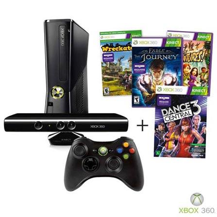 Console Xbox 360 com 250GB Preto: Edição Especial com Kinect + Fable The Journey, Kinect Adventures, Wreckateer e Dance, GM