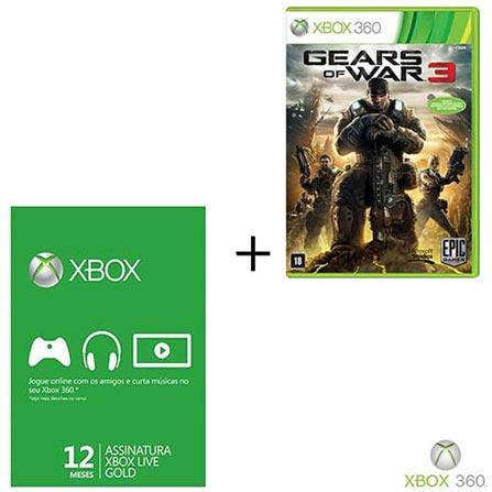 Gears of War 3 Xbox 360 + Cartão Live 12 Meses, GM