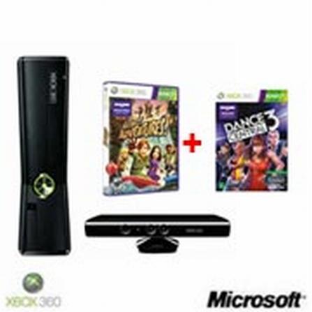 Xbox 360 Slim 4GB com Kinect e Jogo Kinect Adventures + Jogo Dance Central 3 para XBOX 360 - Microsoft, GM