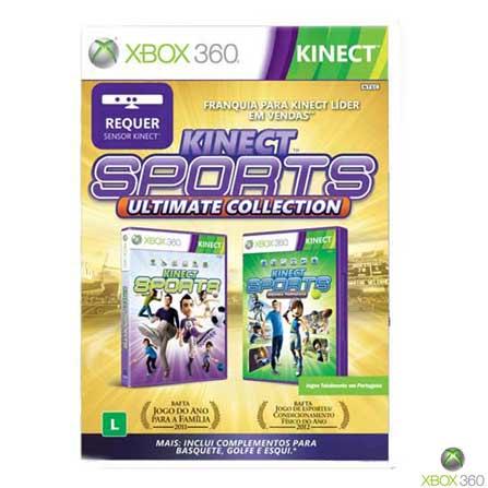 Xbox 360 Slim 4GB com Kinect e Jogo Kinect Adventures + Jogo Kinect Sports Ultimate Collection, GM