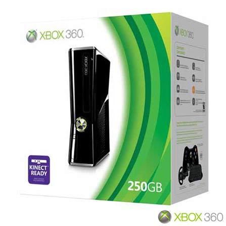 Xbox 360 Slim 4GB + HD 320GB Preto Brilhante, GM