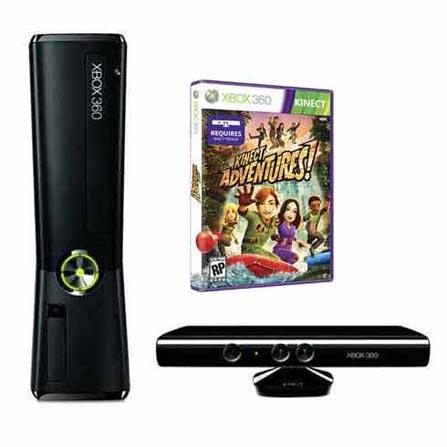 Xbox 360 Slim 250GB com Kinect e Jogo Kinect Adventures - Microsoft + Cabo HDMI 1,4 Preto com 3 metros - Mobimax - MMHDM, GM