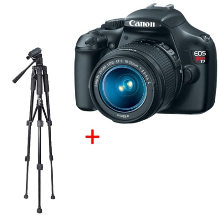 Câmera Digital Canon EOS REBEL T3 com 12.2MP, Tela de LCD 3.0, Zoom de 3x e Filma em HD + Lente 18-55mm + Tripé Profissi