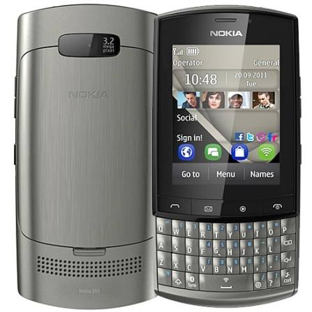 Celular Nokia Asha 303 Branco e Dourado com Câmera de 3.2MP, Tela 2.6