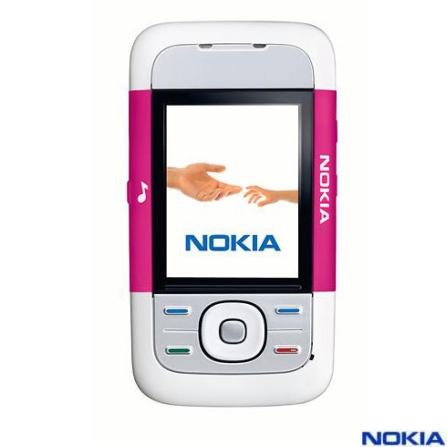 Celular GSM Nokia 5200 Pink Seda com Câmera VGA / Music Player / Rádio FM / Cartão de 256 MB
