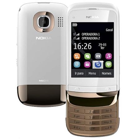 Celular Nokia C2-03 Branco e Dourado com Display de 2.6