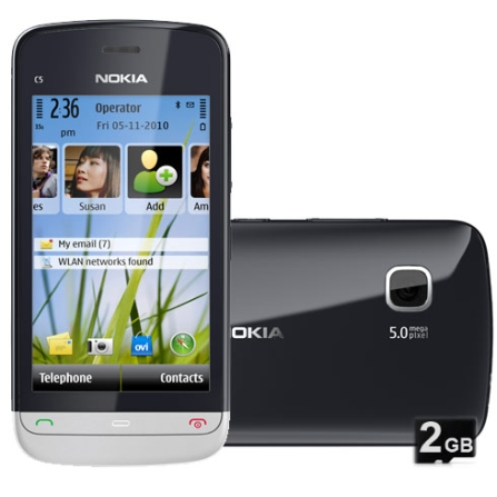 Smartphone Nokia C5 com Receptor de TV Digital, Câmera 5.0MP, Display 3,2