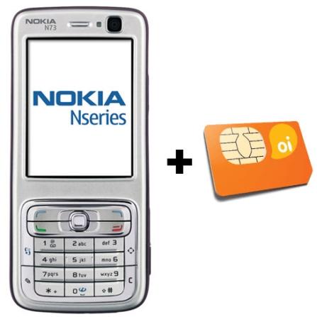 Celular GSM N73 Prata com Câmera de 3.2MP / MP3 Player / Rádio FM / Bluetooth - Nokia + Chip Oi Pré-Pago (DDD 11)