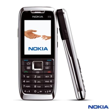 Celular E51 com Conexão Wi-Fi / Câmera 2.0MP / MP3 Player / Rádio FM - Nokia