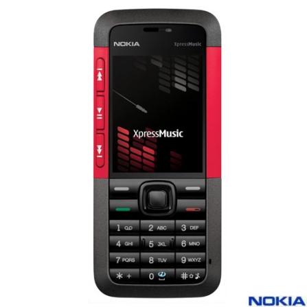 Celular N5310 XpressMusic/Câmera/Bluetooth Nokia, 110V, 220V, Bivolt, Bivolt, Preto e Vermelho, 0, False, 1, N, False, False, False, False, False, False, I, 12 meses, Micro Chip