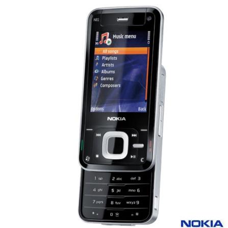 Celular com Câmera 2MP / MP3 Player / Bluetooth Estéreo / WLAN / Memória interna flash de 8Gb - Nokia - N81