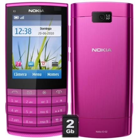Smartphone Nokia X3 Rosa 3G + Wi-Fi, Câmera 5MP