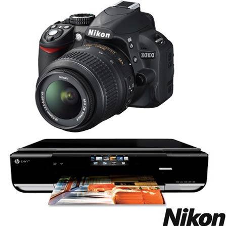 Câmera Digital Nikon D3100 com 14.2 MP, Grava em Full HD  e Lente 18.55mm + Cartão de Memória 8GB + Multifuncional HP En, DG