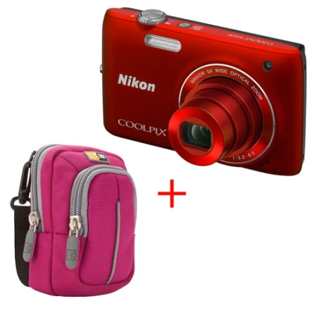 S4100 Vermelha 14MP Zoom 5x Touch + Case Rosa