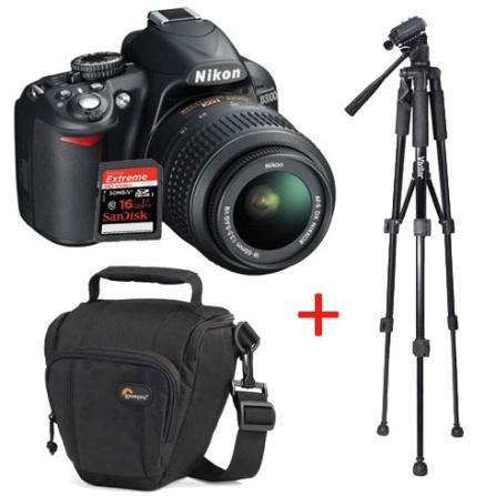 Câmera Digital + Tripé + Bolsa + Cartão de Memória, DG