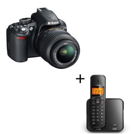 Câmera Digital Nikon D3100 com 14.2 MP, Grava em Full HD e Lente 18.55mm + Telefone sem Fio DECT 6.0 (1,9Ghz) com Identificador