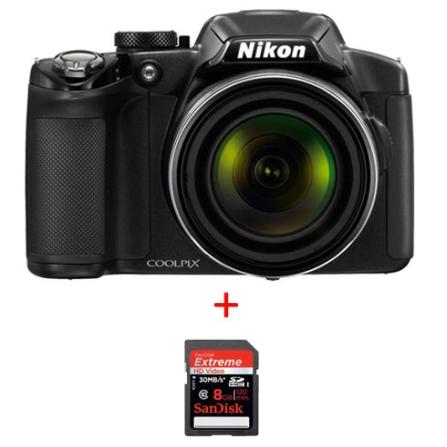 Câmera Digital Nikon Coolpix P510 Preta com 16.1 MP, LCD 3,0