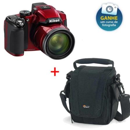 Câmera Nikon P510 Vermelha 8GB + Bolsa Preta