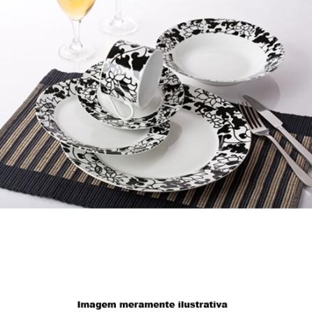 Aparelho de Jantar em Porcelana com 20 Peças / Branco e Preto - NKS - 66BLF
