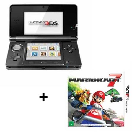Console Nintendo 3DS Preto + Jogo 3DS Mario Kart 7, GM