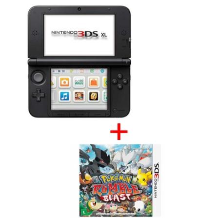 Nintendo Vermelho e Preto para 3DS XL + Jogo Pokémon Rumble Blast para 3DS, GM, Nintendo 3Ds