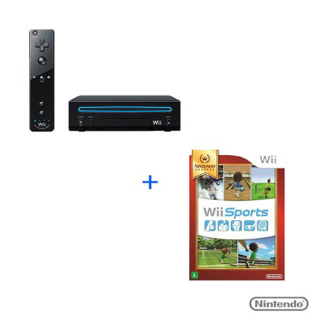Wii Black Core Preto + Jogo WII Sports, GM, Nintendo Wii