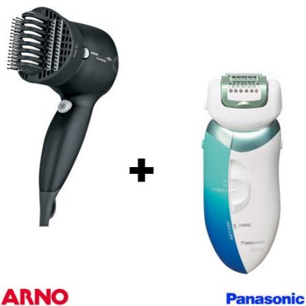 Depilador a Seco e Molhado  / Protetor de Pele / Lâmina Hipoalergênica Panasonic + Secador Alisador Lissima Ionix & Cera