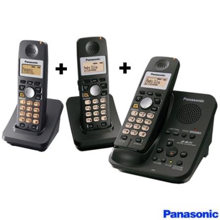 Telefone sem Fio 2.4GHZ com Secretária Eletrônica e Identificador de Chamadas - Panasonic + Ramal sem Fio 2.4GHz  para T