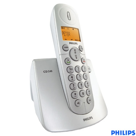 Telefone sem Fio Digital DECT 6.0 com Identificador de Chamada / Viva-Voz - Série CD2 Philips - CD2401S_57