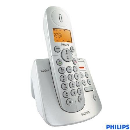 Telefone sem Fio Digital DECT 6.0 com Identificador de Chamada / Viva-Voz / Secretária Eletrônica - Série CD2 Philips -