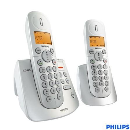 Telefone sem Fio Digital DECT 6.0 com Identificador de Chamada / Viva-Voz / Secretária Eletrônica + Ramal - Série CD2 Ph