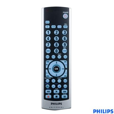 Controle Remoto Universal 4 em 1 TV/DVD/ Videocassete, Receptor por Satélite ou TV a Cabo - Philips - SRU504055