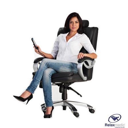 Cadeira Presidencial Massageadora Relaxmedic Preta com Inclinação e 3 Tipos de Massagem Bivolt - E-0971RM