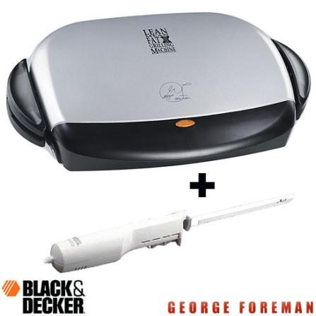 Grill Elétrico George Foreman Junior Cinza e Preto Salton + Faca Elétrica 110V Black & Decker - CJBZ5BDEK100, 110V