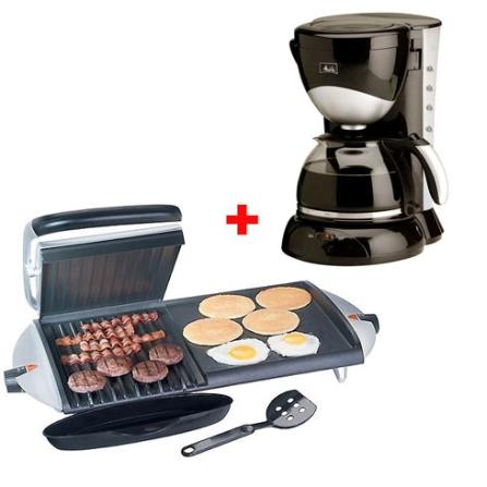 Chapa & Grill George Foreman - Salton + Cafeteira Elétrica com Capacidade para 20 Xícaras de 75ml - Melitta - CJGBZ20MECZ, 110V