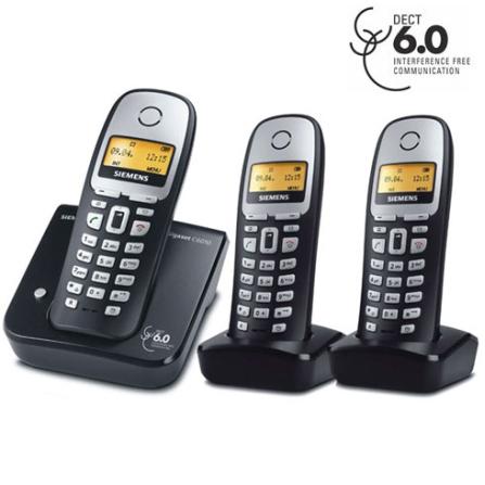 Telefone sem Fio Digital 1.9GHz Dect 6.0 com Identificador de Chamadas - C6010 + 2 Ramais sem Fio C60 - Gigaset Siemens - CJDUOC