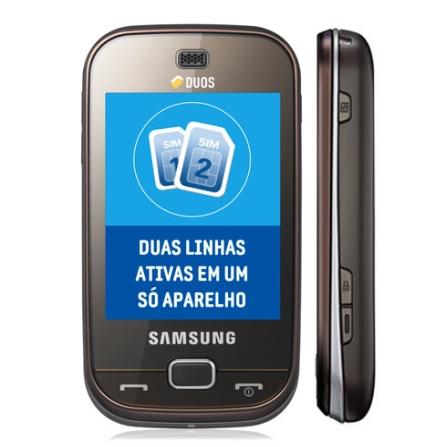 Celular B5722 Dual Chip, TouchScreen, 1GB Samsung, Bivolt, Bivolt, Marrom, 0, True, 1, N, False, False, False, False, False, False, I, 12 meses, Micro Chip
