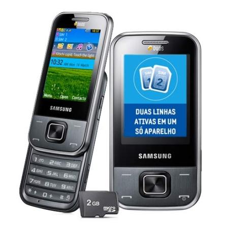 Celular GSM Samsung C3752, Câmera de 3.2MP + 2GB
