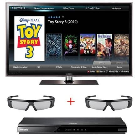 LED D6000 40'' 3D + Blu-ray + 2 Óculos Samsung, VD