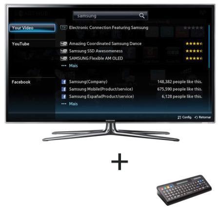 LED 46'' 3D 480Hz + Controle Remoto Qwerty Samsung, VD