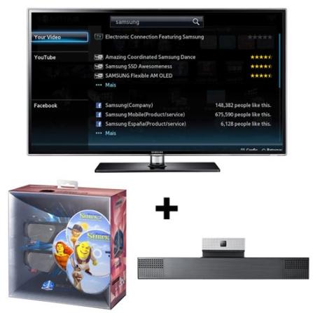 Smart TV LED 3D 55'' + Câmera + Kit 3D Samsung, VD