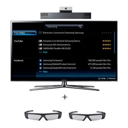 LED 55'' 3D + Câmera + Óculos 3D Adulto Samsung, VD