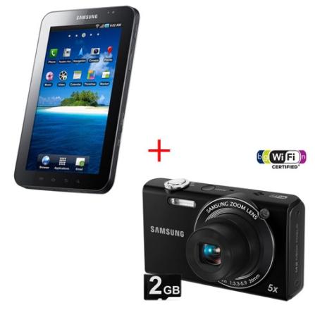 Tablet Galaxy Tab 3G + Câmera Digital SH100 WiFi