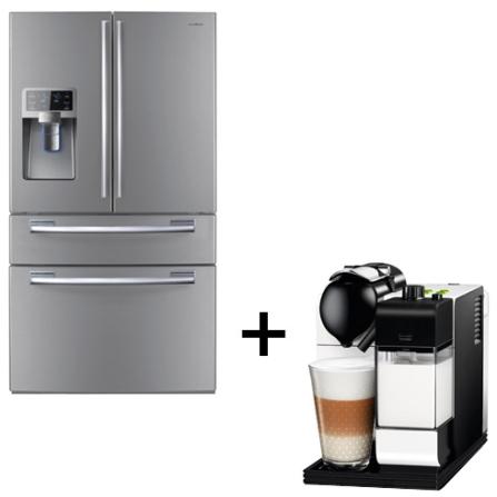 Exclusivo: Refrigerador Samsung RFG28MESL Multiportas 614L Frost Free com Painel Digital, Cor Inox + Máquina de Café Esp, 110V, LB