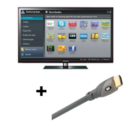 Smart TV LED D5500 40'' Full HD + Cabo Samsung, VD