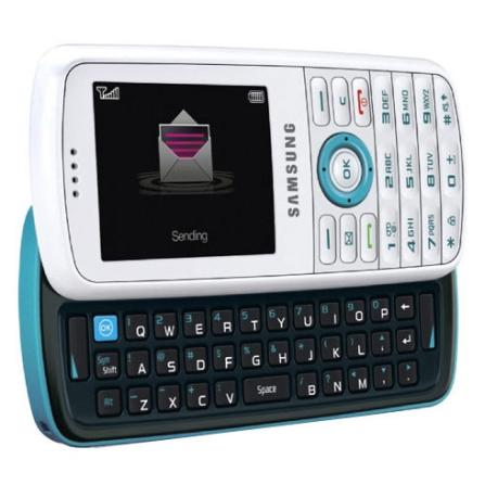 Celular GSM T459 Scrapy Branco e Azul com Câmera 1.3MP / MP3 Player / Bluetooth / Teclado QWERTY / Cartão Micro SD de 51
