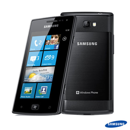 Smartphone Samsung Omnia W Windows Phone 7.5, Bivolt, Bivolt, 0000003.80, True, 1, N, True, True, True, True, True, False, I, Windows Phone, Até 4'', Sim, Mini Chip