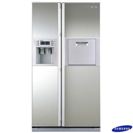 Refrigerador Side by Side 738L Frost Free com Home Bar / Dispenser de Água e Gelo /Silver Nano / Espelho - Samsung - RS27KLMR, 110V, LB, 738 Litros, 02 Portas, Side by Side, Acima de 500 litros