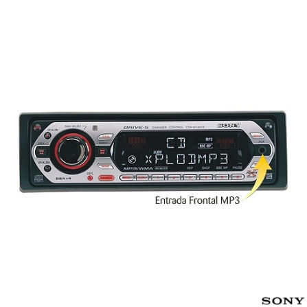 Auto Rádio MP3/Atrac3plus/WMA 52W x4 com entrada frontal MP3 - CDX_GT307X