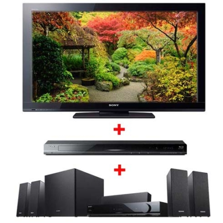 TV LCD 40'' Full HD + Home Theater + Blu-ray Sony, VD